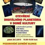 Plakát - Otevření planetária a pozorování zatmění Slunce na Hvězdárně DK Uherský Brod