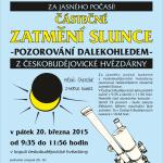 Plakát - Pozorování zatmění Slunce na Hvězdárně České Budějovice