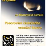 Plakát - Pozorování zatmění Slunce na hvězdárně Vyškov